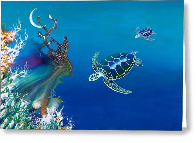 The Twin Turtles Of Oceania Greeting Card by Lee Pantas