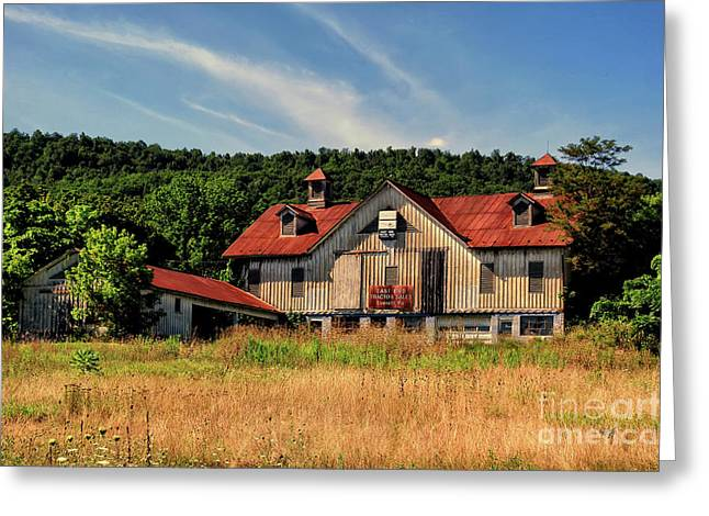 The Two Cupola Barn Greeting Card by Lois Bryan