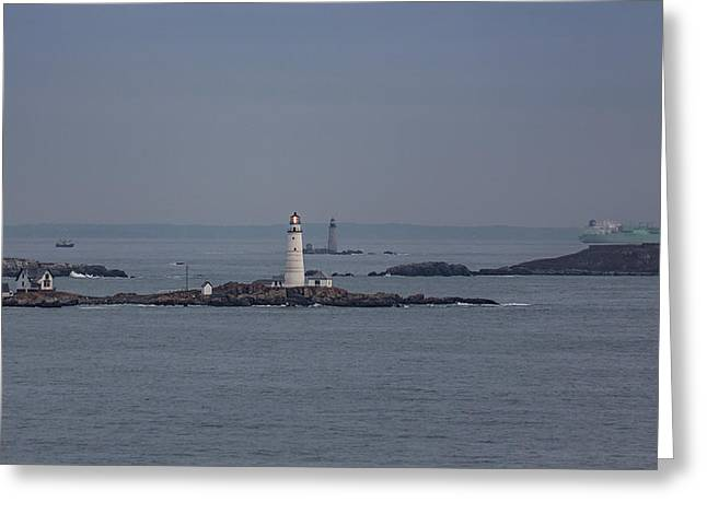 The Two Harbor Lighthouses Greeting Card