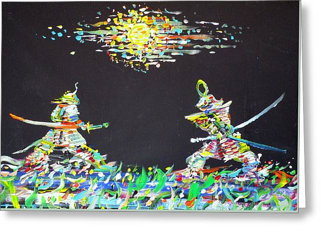 Greeting Card featuring the painting The Two Samurais by Fabrizio Cassetta