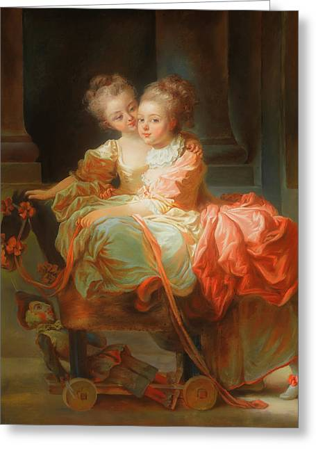 Greeting Card featuring the painting The Two Sisters                                   by Jean Claude Richard