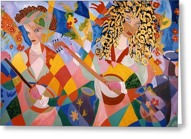 Greeting Card featuring the painting The Two Women Musicians by Sima Amid Wewetzer