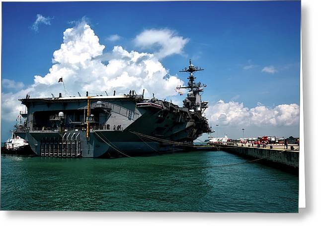 The U S S John C Stennis In Port Greeting Card by Mountain Dreams
