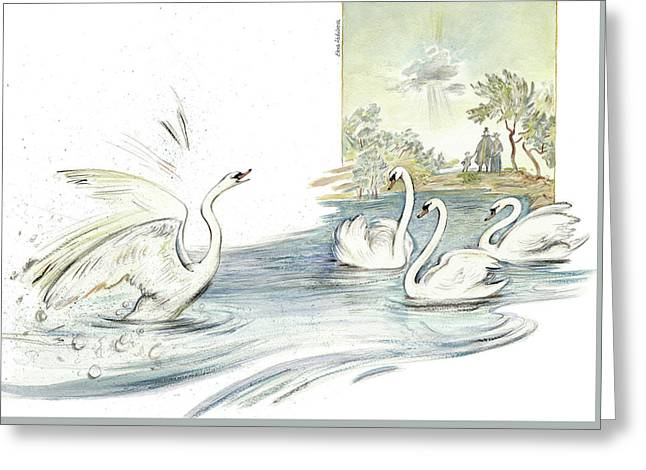 The Ugly Duckling - Joining Flock Of Other Swans On Sunny Lake - Illustration For Classic Fairy Tale Greeting Card by Elena Abdulaeva