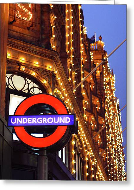 Knightsbridge Greeting Cards - The Underground and Harrods at Night Greeting Card by Heidi Hermes