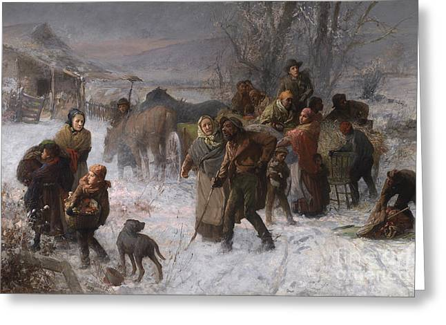 Best Sellers -  - Snow-covered Landscape Greeting Cards - The Underground Railroad Greeting Card by Charles T Webber