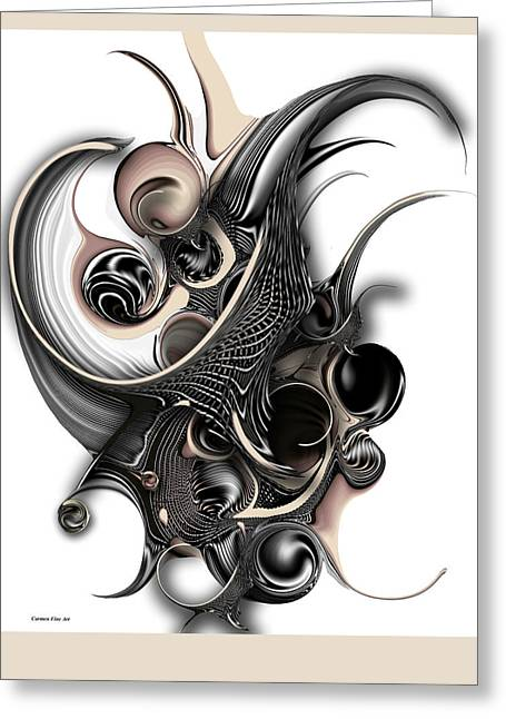 Greeting Card featuring the digital art The Unfolding Purity by Carmen Fine Art