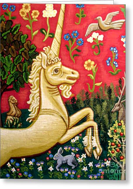 Trees Tapestries - Textiles Greeting Cards - The Unicorn Greeting Card by Genevieve Esson