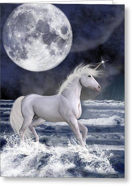 The Unicorn Under The Moon Greeting Card by Emma Alvarez