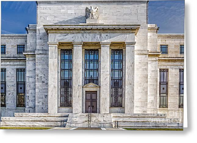 The United States Federal Reserve Greeting Card by Susan Candelario