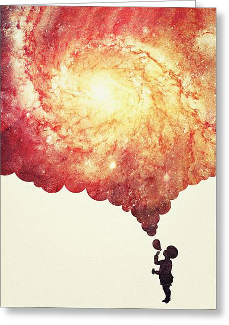 The Universe In A Soap Bubble Awesome Space Nebula Galaxy Negative Space Artwork Greeting Card by Philipp Rietz
