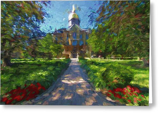 The University Of Notre Dame Greeting Card by Dan Sproul