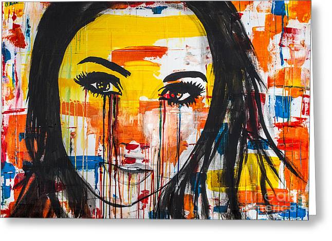Greeting Card featuring the painting The Unseen Emotions Of Her Innocence by Bruce Stanfield
