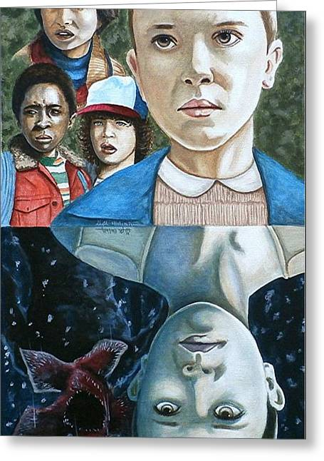 Greeting Card featuring the painting The Upside Down by Al  Molina