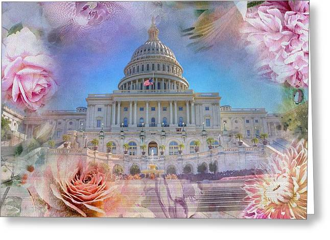 The Us Capitol Building At Spring Greeting Card