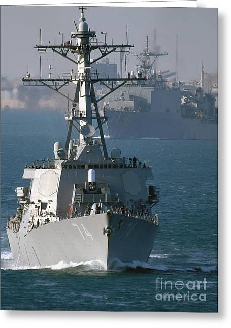 Strike Group Greeting Cards - The U.s. Guided Missile Destroyer Uss Greeting Card by Stocktrek Images