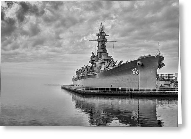 The Uss Alabama In Black And White Greeting Card