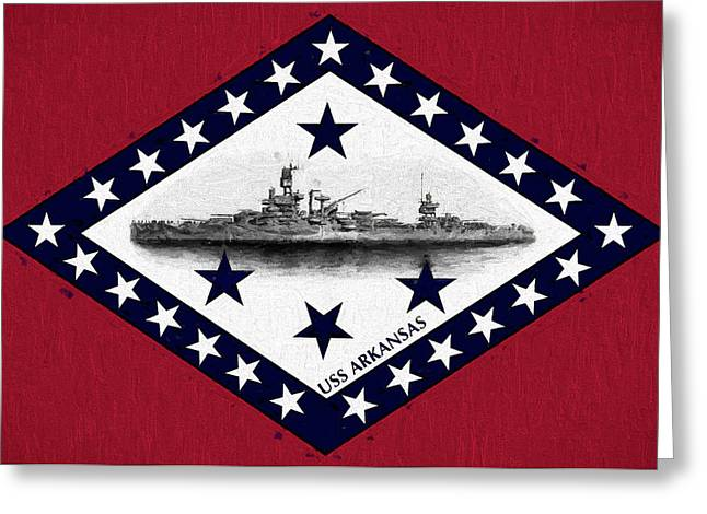 Greeting Card featuring the digital art The Uss Arkansas by JC Findley