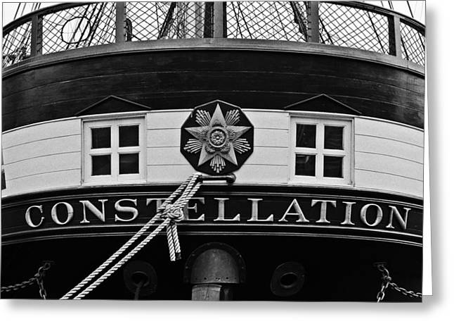 The Uss Constellation Navy Ship In Baltimore Harbor Greeting Card by Marianna Mills
