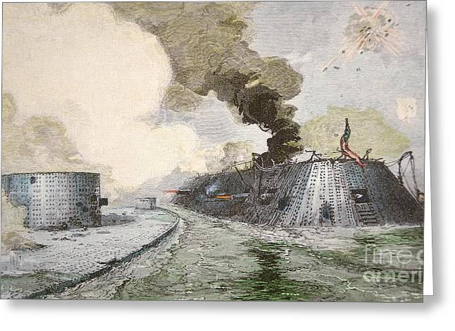 The Uss Monitor Fighting The Css Merrimack At The Battle Of Hampton Broads During The Civil War Greeting Card