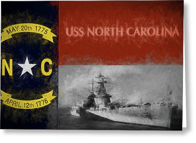 The Uss North Carolina Greeting Card by JC Findley