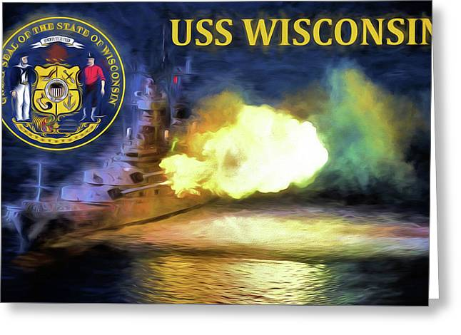 The Uss Wisconsin Greeting Card by JC Findley