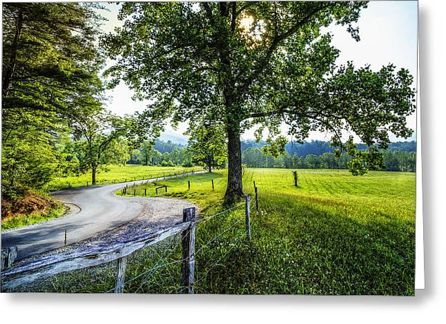 The Valley At Cades Cove Greeting Card by Debra and Dave Vanderlaan