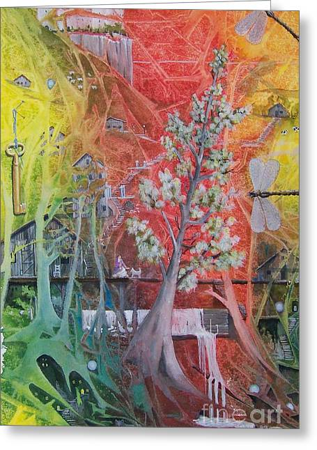 The Valley Of The Cotton Tree Greeting Card by Jackie Mueller-Jones