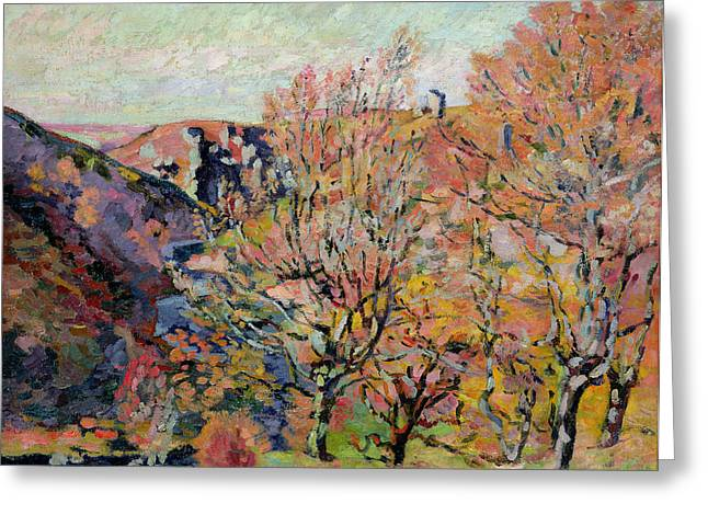 The Valley Of The Sedelle In Crozant Greeting Card by Jean Baptiste Armand Guillaumin