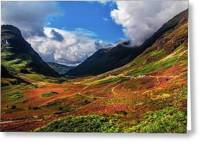 The Valley Of Three Sisters. Glencoe. Scotland Greeting Card