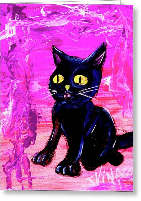 Greeting Card featuring the painting The Vampire Cat Baby Lestat by eVol i