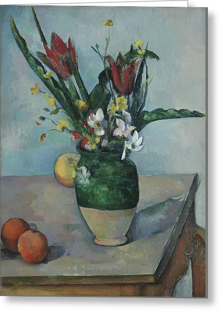 The Vase Of Tulips Greeting Card by Paul Cezanne