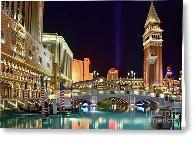 The Venetian Gondolas At Night Greeting Card