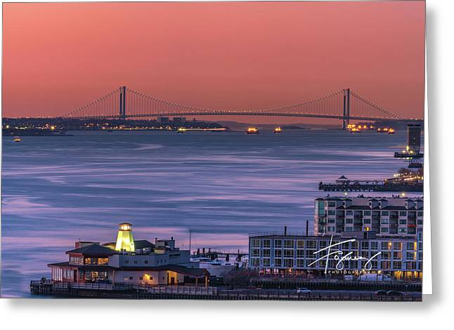 Greeting Card featuring the photograph The Verrazano Bridge At Sunrise by Francisco Gomez