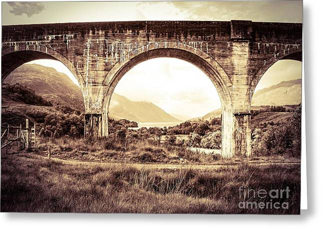 The Viaduct And The Loch Greeting Card by Denise Railey