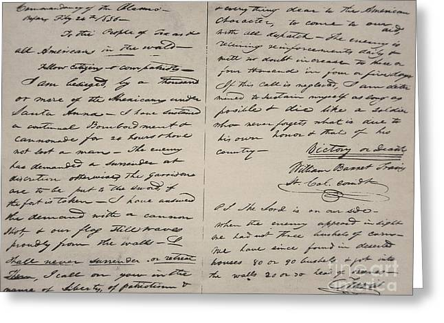 The Victory Of Death Letter Written By The Alamo Commander William Barret Travis, 1836  Greeting Card