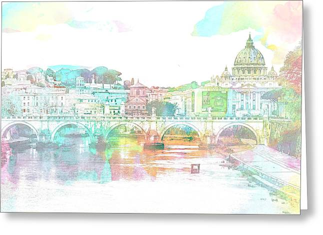 The View From Castel Sant'angelo Towards Ponte Sant'angelo, Brid Greeting Card
