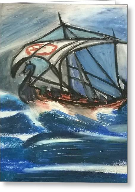 the Viking's ship Greeting Card by Miss Ratul Banerjee