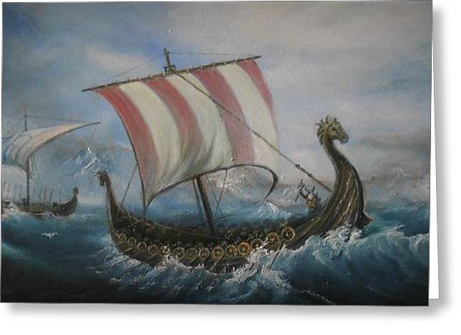 The Vikings Greeting Card by Sorin Apostolescu