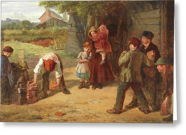 The Village Game Greeting Card by William Henry Knight