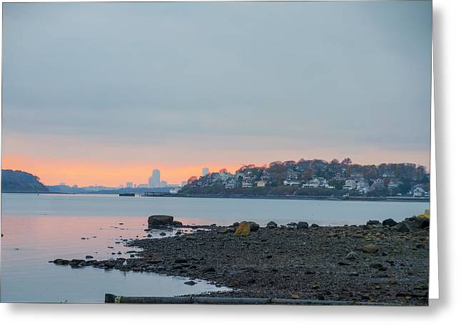 The Village Of Hull With Boston Skyline In The Backround Greeting Card by Bill Cannon