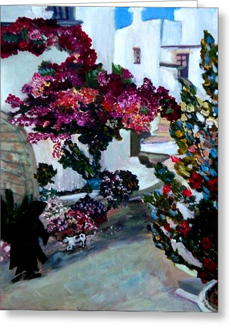 The Village Of Oios Greece Greeting Card by Helena Bebirian