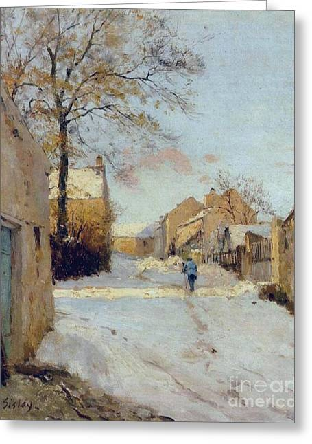 The Village Street In Winter Greeting Card by MotionAge Designs
