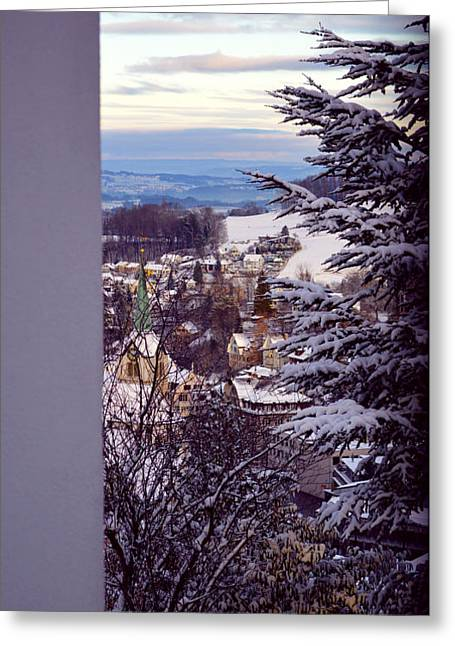 Greeting Card featuring the photograph The Village - Winter In Switzerland by Susanne Van Hulst
