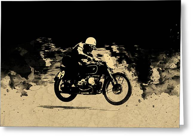 The Vintage Motorcycle Racer Greeting Card by Mark Rogan