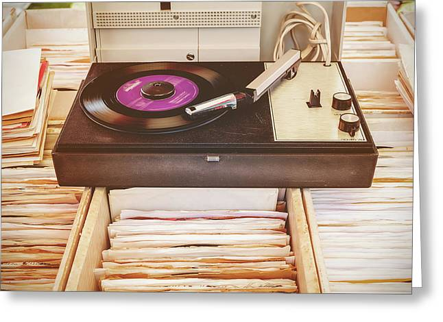 The Vintage Turntable Greeting Card by Martin Bergsma