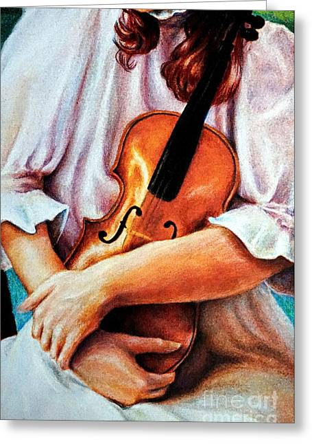 The Violin Greeting Card by Georgia's Art Brush