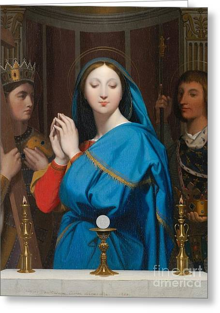 The Virgin Adoring The Host Greeting Card