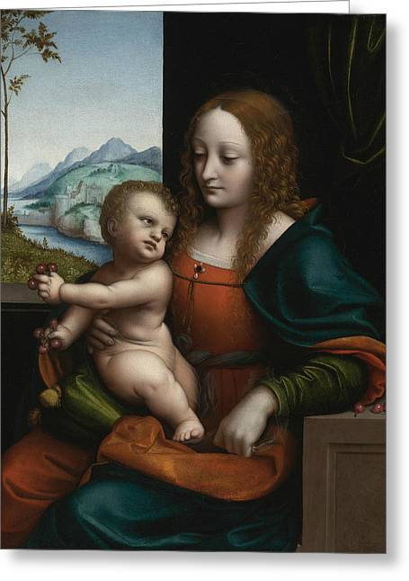 The Virgin And Child By A Window Greeting Card