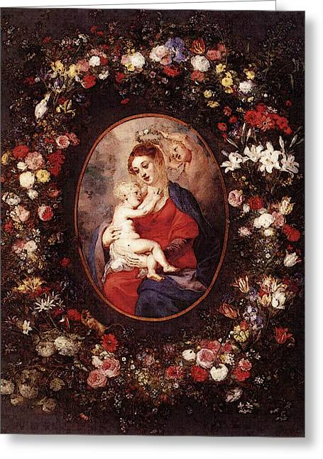 The Virgin And Child In A Garland Of Flower  Greeting Card